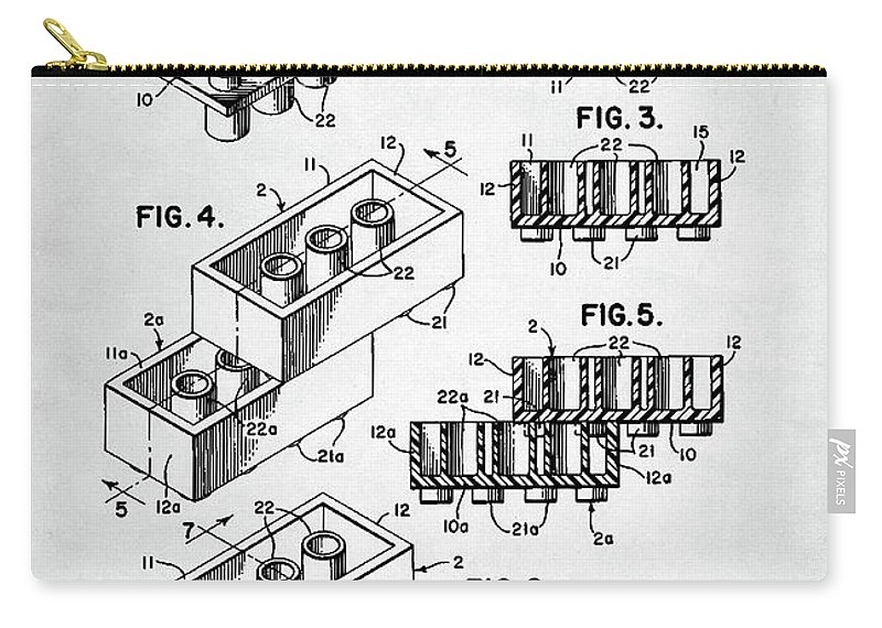 Lego Carry-all Pouch featuring the digital art Lego Toy Building Brick Patent by Zapista