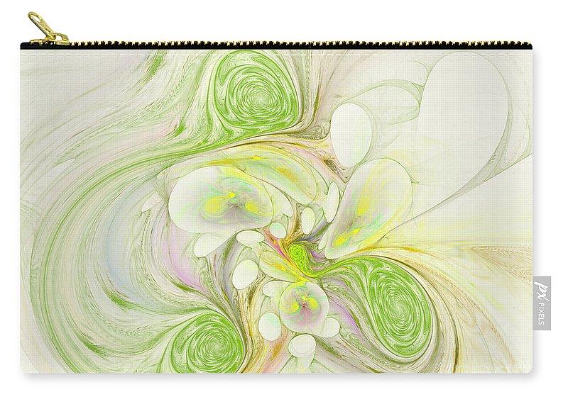Digital Carry-all Pouch featuring the digital art Lemon Lime Curly by Deborah Benoit