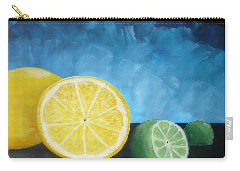 Lemon Carry-all Pouch featuring the painting Lemon Lime by Monika Shepherdson
