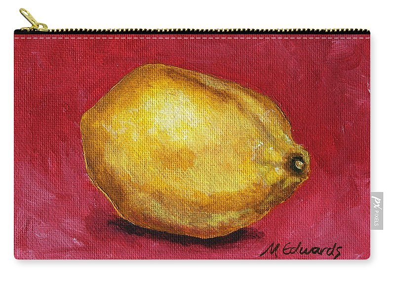 Lemon Carry-all Pouch featuring the painting Lemon Pink by Marna Edwards Flavell