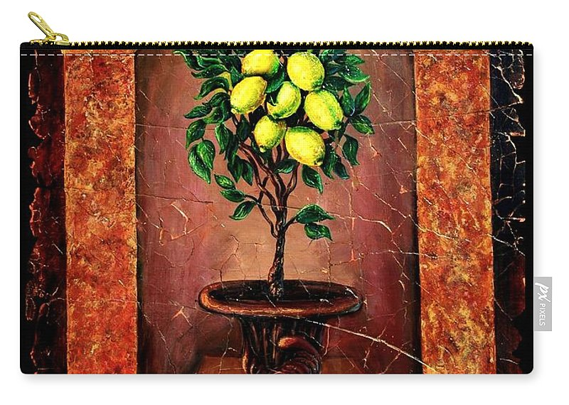 Fresco Antique Carry-all Pouch featuring the painting Lemon Tree by OLena Art Brand
