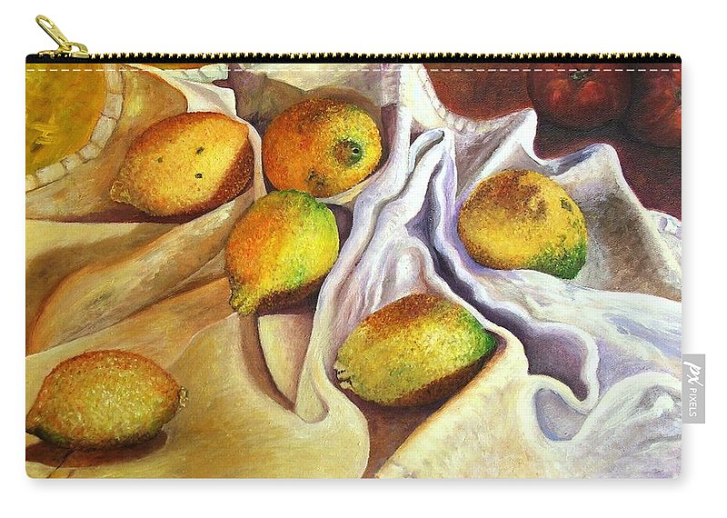 Still Life Carry-all Pouch featuring the painting Lemons And Linen by Caroline Street