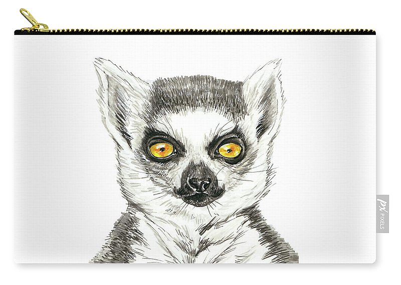 Animal Carry-all Pouch featuring the painting Lemur by Katerina Kirilova