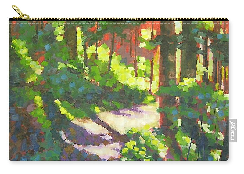 Landscape Carry-all Pouch featuring the painting Lena Lake Trail II by Mary McInnis