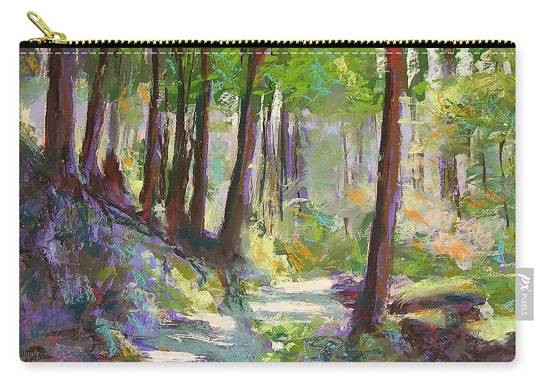 Landscape Carry-all Pouch featuring the painting Lena Lake Trail Shadows by Mary McInnis