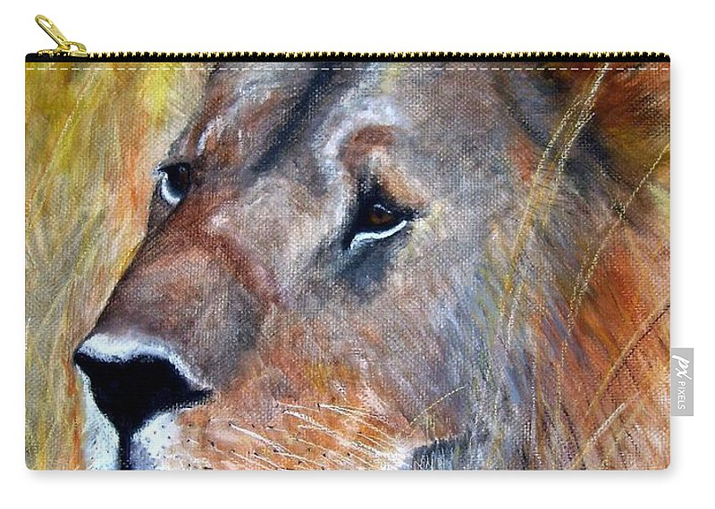 Lion Carry-all Pouch featuring the painting leo by Frances Marino
