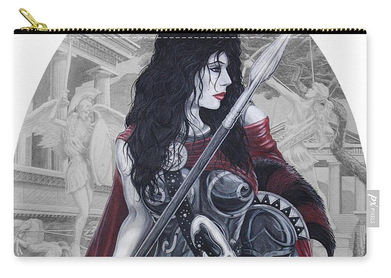 #spartan Carry-all Pouch featuring the drawing Leonadia by Kristopher VonKaufman