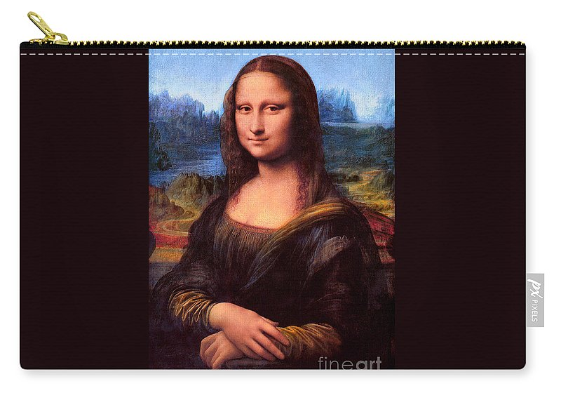 Pd: Reproduction Carry-all Pouch featuring the painting Mona Lisa by Pg Reproductions