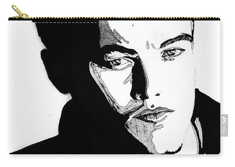 Portrait Carry-all Pouch featuring the mixed media Leonardo Dicaprio Portrait by Alban Dizdari