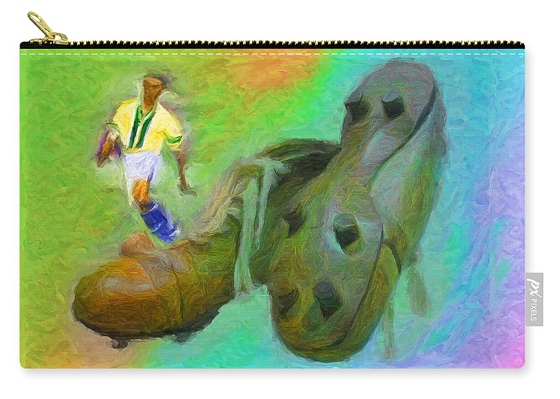 Leonidas Carry-all Pouch featuring the digital art Leonidas And Soccer Shoes by Caito Junqueira