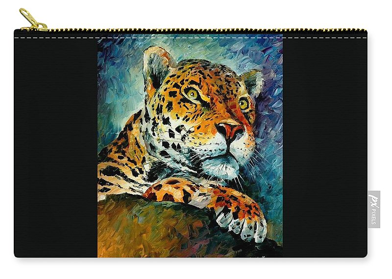 Animals Carry-all Pouch featuring the painting Leopard by Leonid Afremov