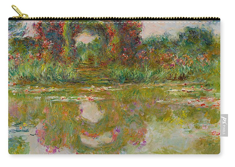Claude Monet Carry-all Pouch featuring the painting Les Arceaux De Roses. Giverny by Claude Monet