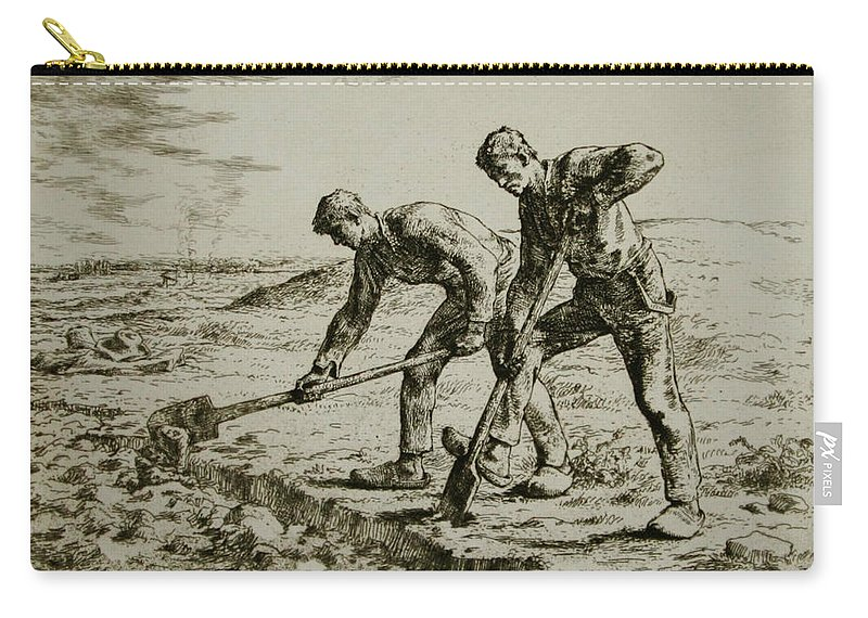 Les Bêcheurs Carry-all Pouch featuring the painting Les by MotionAge Designs