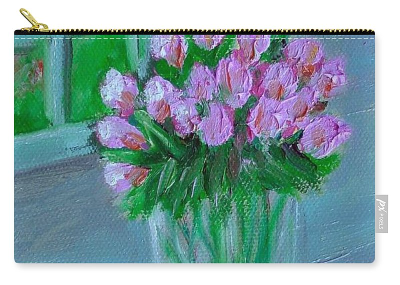 Rose Carry-all Pouch featuring the painting Leslie's Roses by Laurie Morgan
