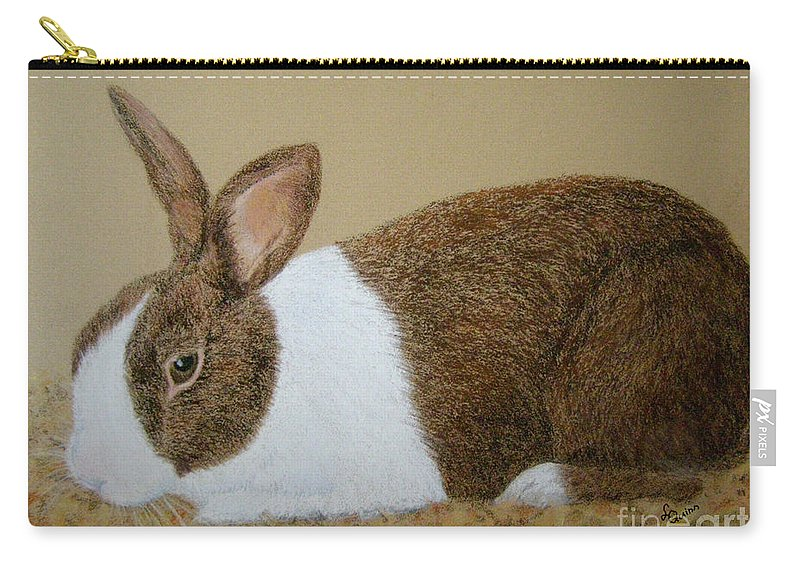 Bunny Carry-all Pouch featuring the painting Les's Rabbit by Lynn Quinn