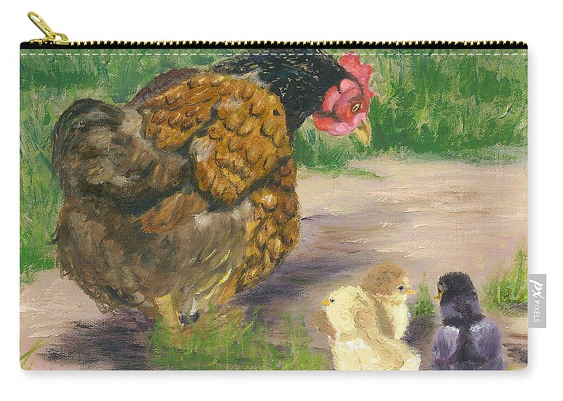 Cickens Chicks Hen Barnyard Bantams Farm Bucolic Nature Carry-all Pouch featuring the painting Lesson Time by Paula Emery