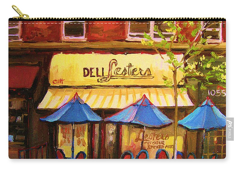 Lesters Deli Carry-all Pouch featuring the painting Lesters Cafe by Carole Spandau
