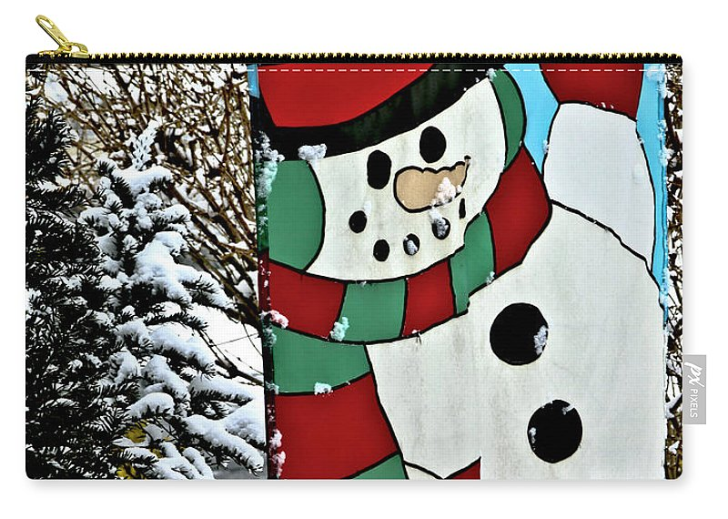 Let It Snow Carry-all Pouch featuring the photograph Let It Snow - Happy Holidays by Carol F Austin