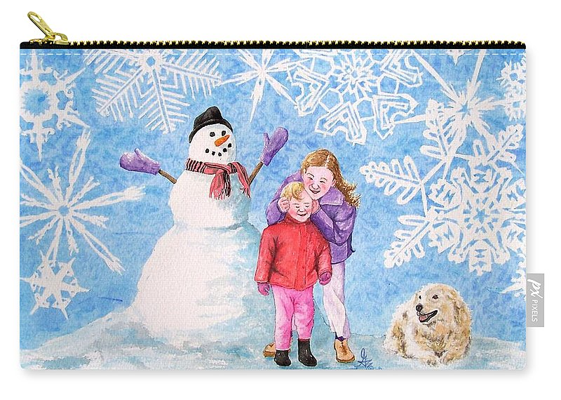 Snowman Carry-all Pouch featuring the painting Let It Snow by Gale Cochran-Smith