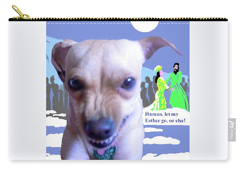 Art Carry-all Pouch featuring the mixed media Let My Esther Go by Shirl Solomon