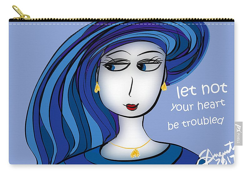 Inspire Carry-all Pouch featuring the drawing Let Not Your Heart Be Troubled by Sharon Augustin