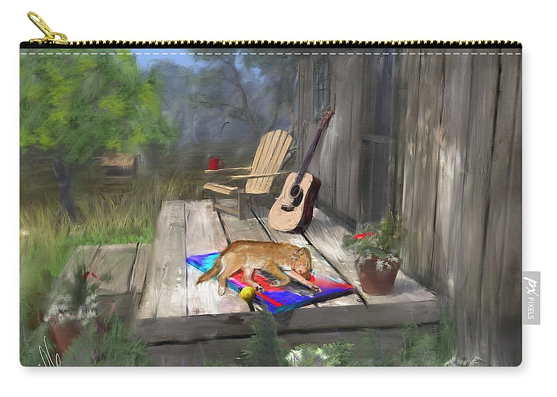 Dog Carry-all Pouch featuring the painting Let Sleeping Dogs Lie by Barb Kirpluk