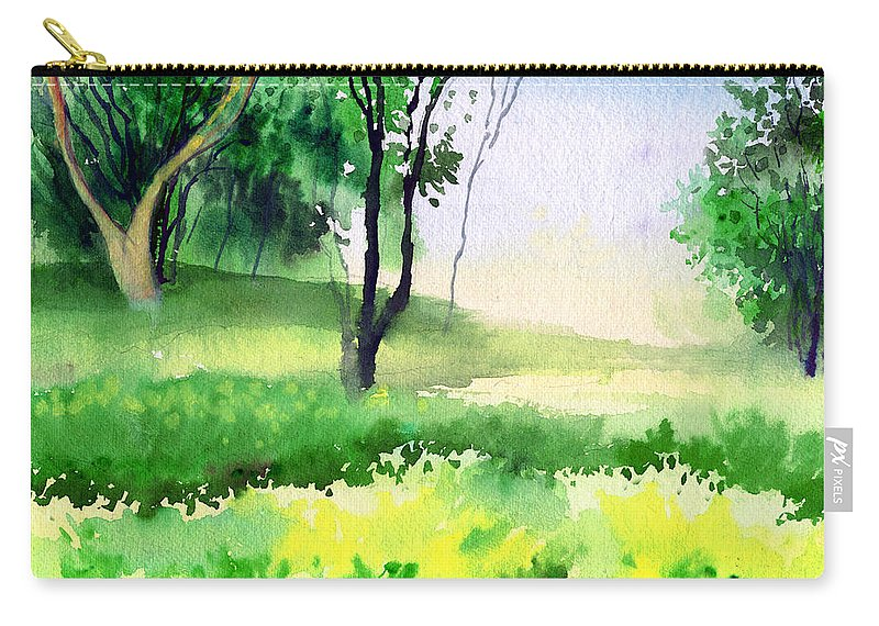 Watercolor Carry-all Pouch featuring the painting Let's Go For A Walk by Anil Nene