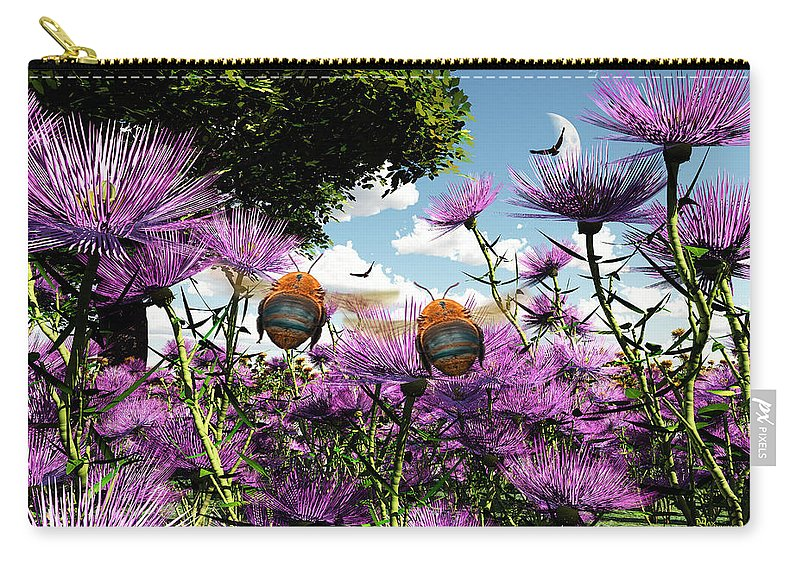 Bloom Carry-all Pouch featuring the digital art Two Bumblebees Discover The World by Max Steinwald