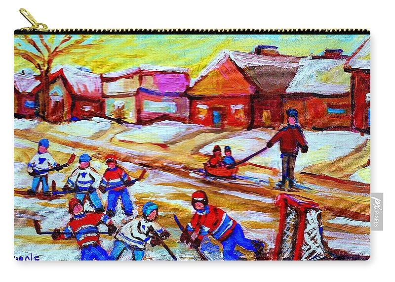 Hockey Canvas Prints Carry-all Pouch featuring the painting Lets Play Hockey by Carole Spandau