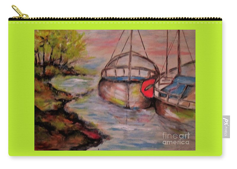 Boat Sail Boat Water Landscape Peaceful Drifting Trees Calming Sunset Carry-all Pouch featuring the painting Lets Stay Here by Liz Lafalce