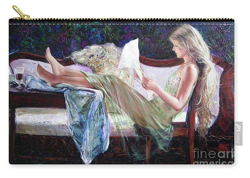 Figurative Carry-all Pouch featuring the painting Letter From Him by Sergey Ignatenko