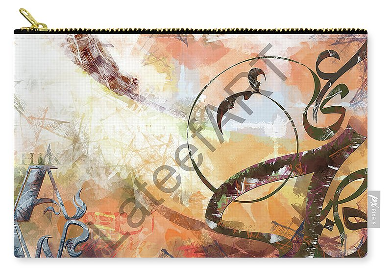 Calligraphy Carry-all Pouch featuring the digital art Letters Track by Lateef Hassayn