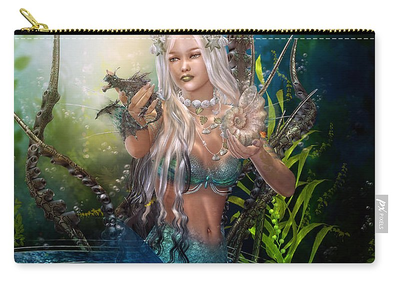 Mermaid Carry-all Pouch featuring the digital art Letting Go by Karen Koski