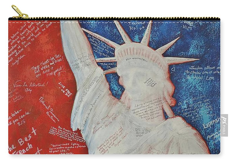 Statue Of Liberty Carry-all Pouch featuring the painting Liberty Is... by Margaret Bobb