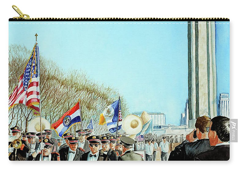 Liberty Memorial Carry-all Pouch featuring the painting Liberty Memorial Kc Veterans Day 2001 by Carolyn Coffey Wallace