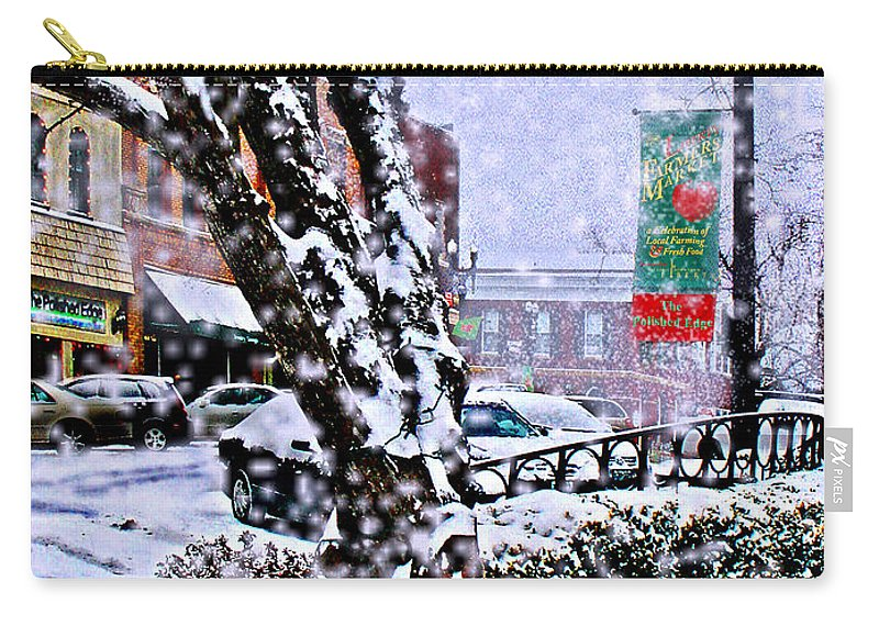 Landscape Carry-all Pouch featuring the photograph Liberty Square In Winter by Steve Karol