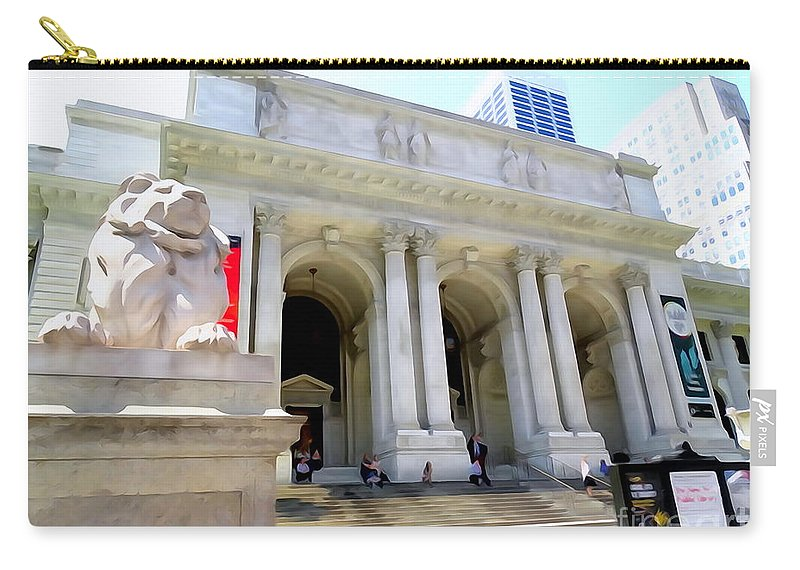 Digital Carry-all Pouch featuring the photograph Library Lion by Ed Weidman
