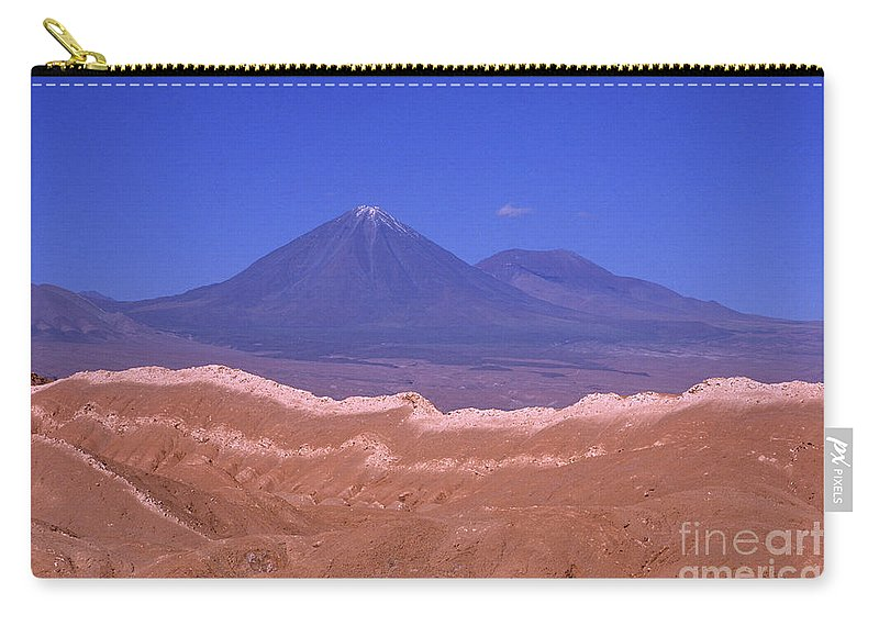 Chile Carry-all Pouch featuring the photograph Licancabur Volcano Seen From The Atacama Desert Chile by James Brunker