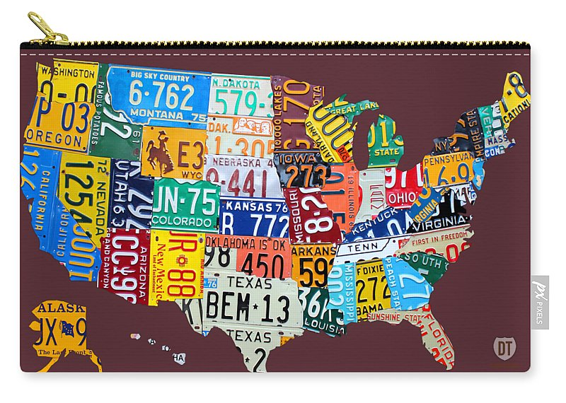 Art Carry-all Pouch featuring the mixed media License Plate Map Of The United States by Design Turnpike