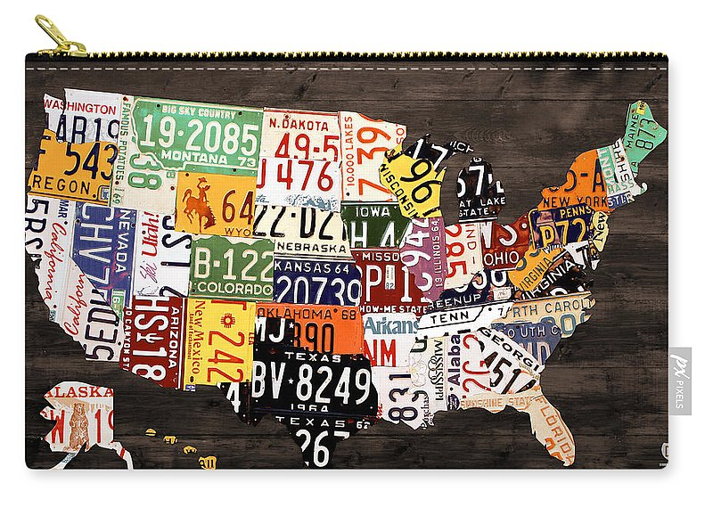 License Plate Map Carry-all Pouch featuring the mixed media License Plate Map Of The United States - Warm Colors / Black Edition by Design Turnpike