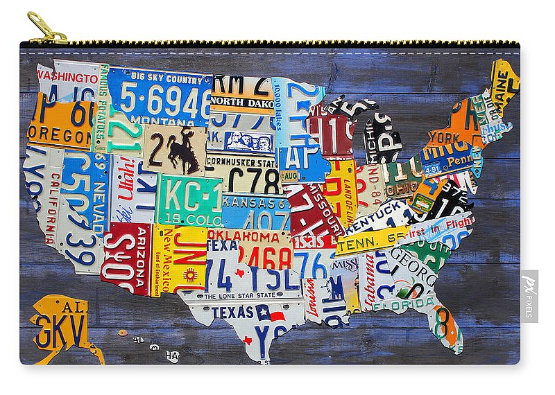 License Plate Map Of The Usa On Blue Wood Boards Carry All Pouch For