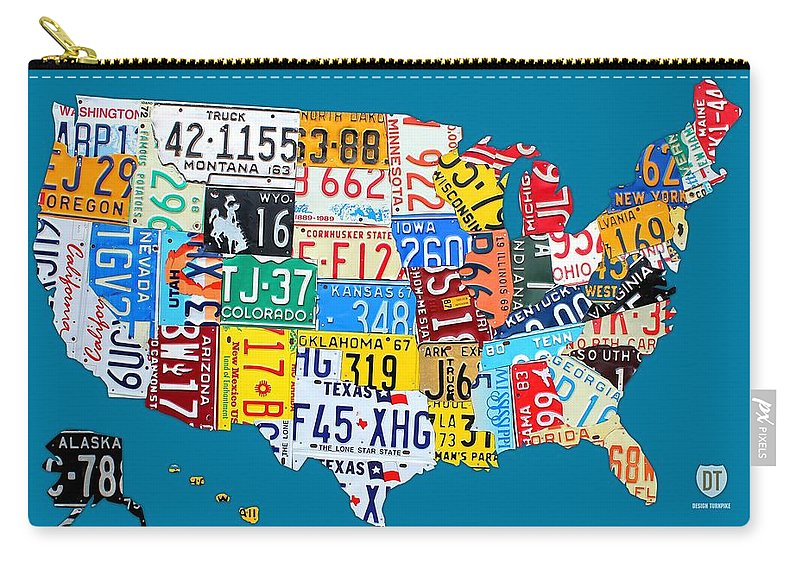 License Plate Map Of The Usa On Royal Blue Carry All Pouch For Sale