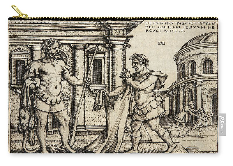 Sebald Beham Carry-all Pouch featuring the drawing Lichas Bringing The Garment Of Nessus To Hercules by Sebald Beham