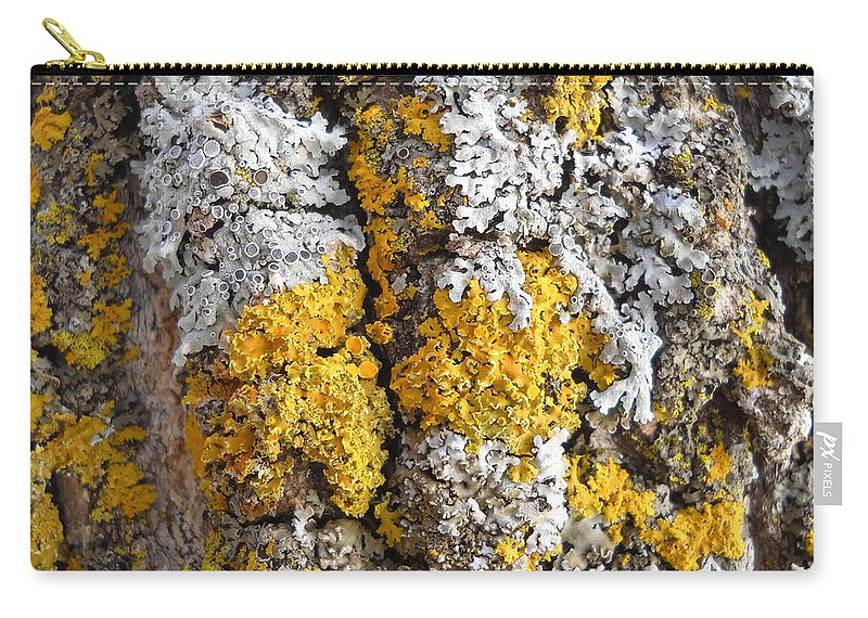 Lichens Carry-all Pouch featuring the photograph Lichens On Tree Bark by Kent Lorentzen