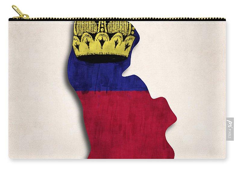 Carry-all Pouch featuring the digital art Liechtenstein Map Art With Flag Design by World Art Prints And Designs