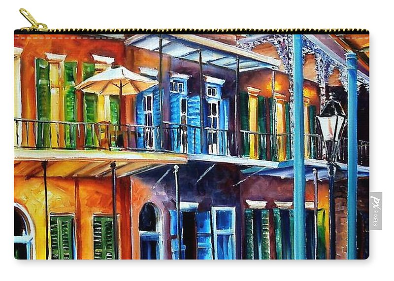 New Orleans Carry-all Pouch featuring the painting Life After Dark by Diane Millsap