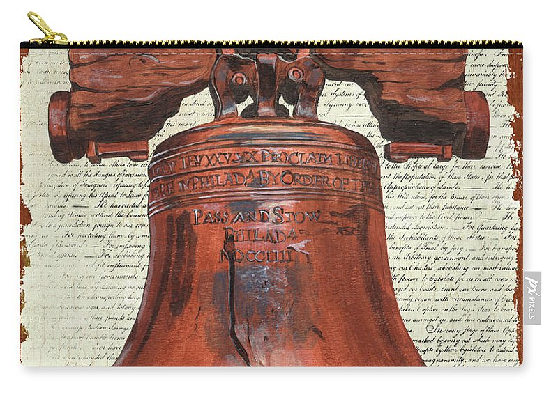 Bell Carry-all Pouch featuring the painting Life And Liberty by Debbie DeWitt