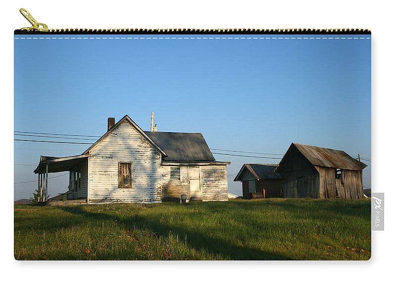 Old House Barn Life Past Age Forgotten Forget Time Left Leave Blue Green White Kentucky Ky Country Carry-all Pouch featuring the photograph Life Behind by Andrei Shliakhau