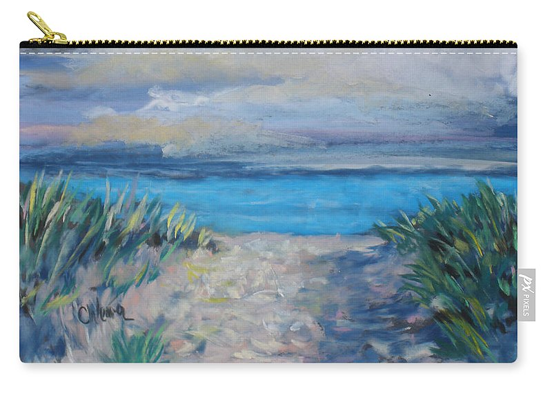 Landscape Carry-all Pouch featuring the painting Life Is A Beach by Cathy Weaver