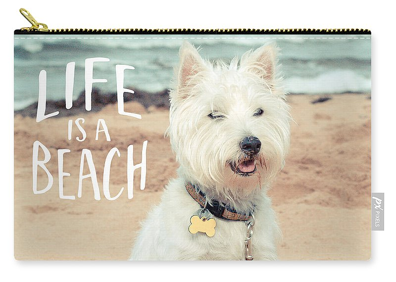 Dog Carry-all Pouch featuring the photograph Life Is A Beach Dog Square by Edward Fielding